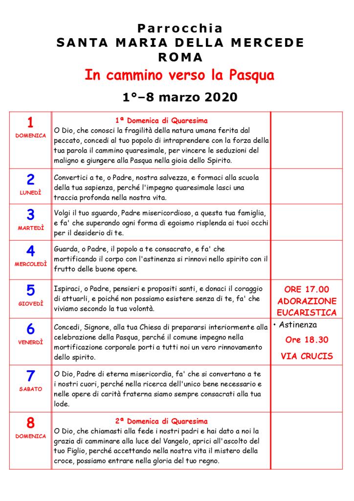 PRIMA SETTIMANA DI QUARESIMO 2020
