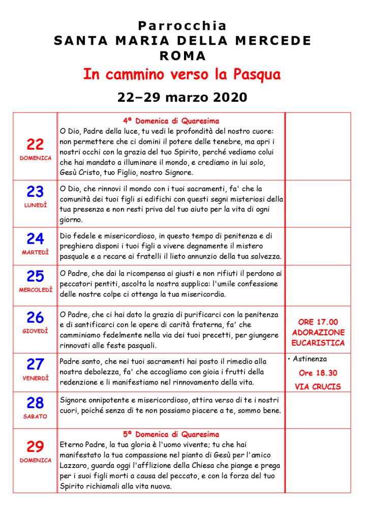 QUARTA SETTIMANA DI QUARESIMA 2020