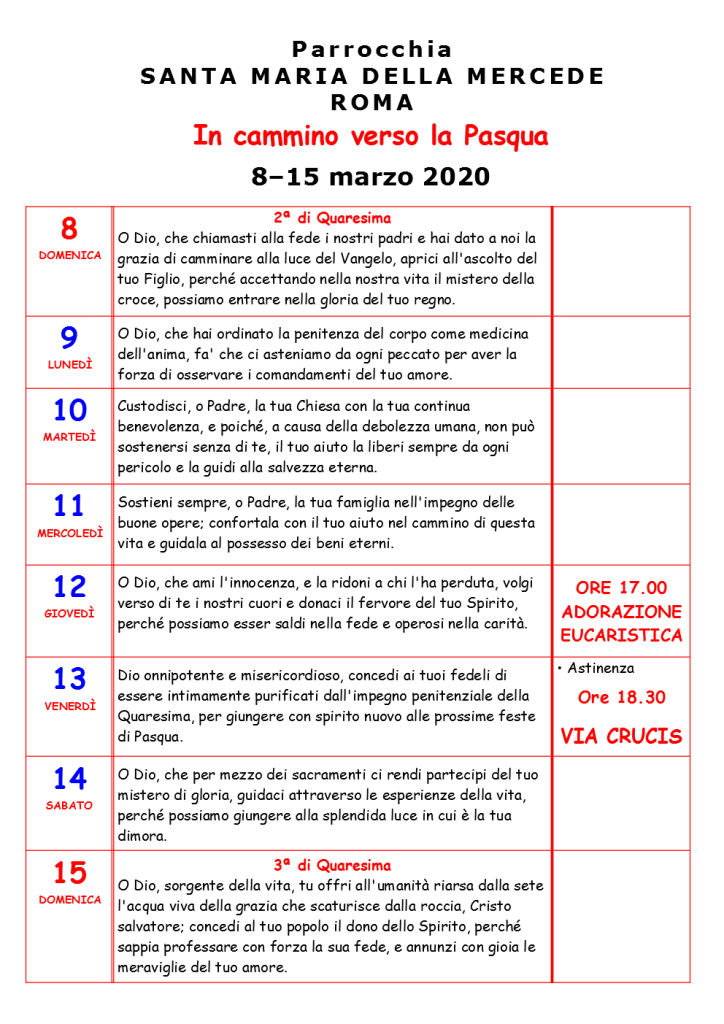 SECONDA SETTIMANA DI QUARESIMA 2020