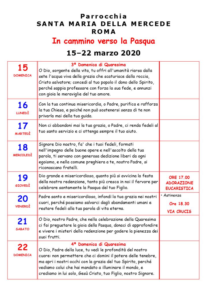 TERZA SETTIMANA DI QUARESIMA 2020